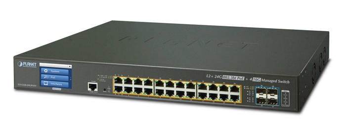 LOGO_L2+ 24-Port Gigabit + 4-Port 10GbE SFP+ Managed Switch with Color Touch LCD GS-5220-24UP4XV