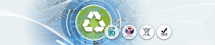 LOGO_Sustainability & Recycling RoHs, REACH, SVHC, CPSIA, Prop65, WEEE, Recycling