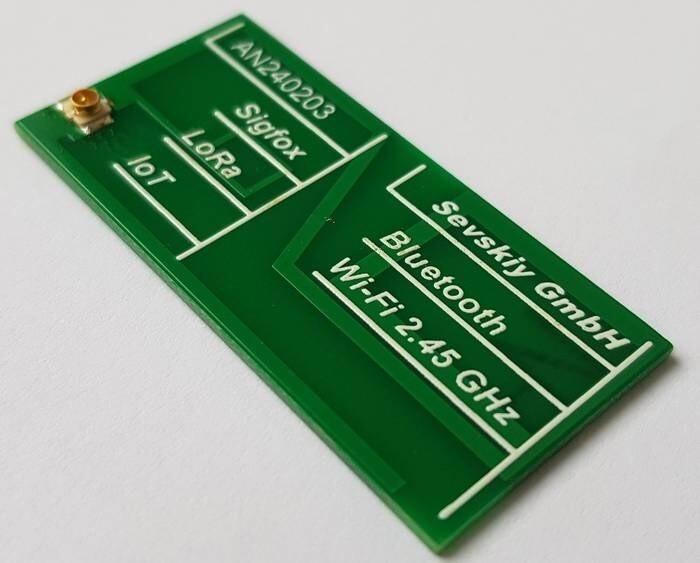 LOGO_868 MHz / 915 MHz / 2 GHz / 2.45 GHz PCB-Antenne (IoT, Sigfox, LoRa, Bluetooth, WLAN, 3G)