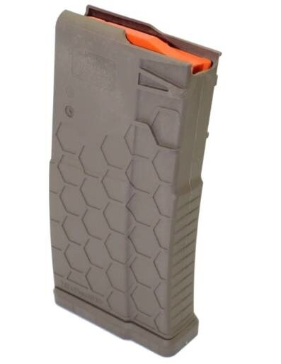 LOGO_Hexmag AR-10/.308 magazine in FDE with a 20 Round Capacity
