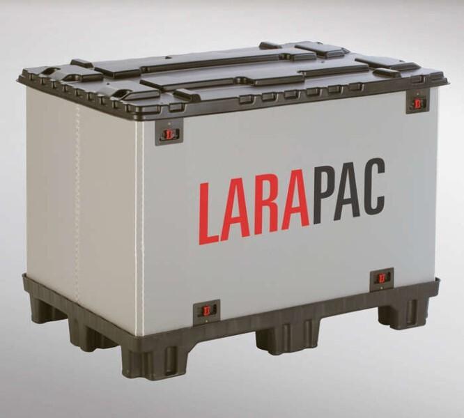 LOGO_LARAPAC-Faltbehälter mit integrierter Palette (Palettenmaße 1200 x 800 und 1200 x 1000)