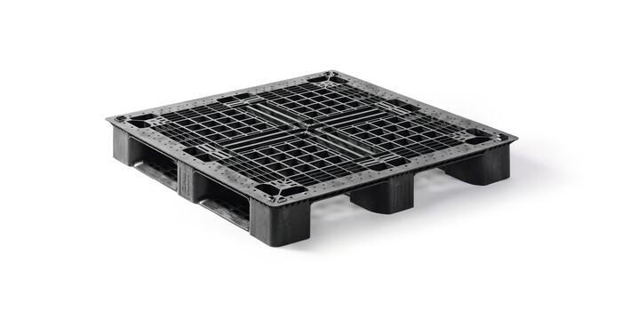LOGO_Q-Pall präsentiert neue Generation Kunststoffmedium Paletten: 1100x1100mm und 1140x1140mm.