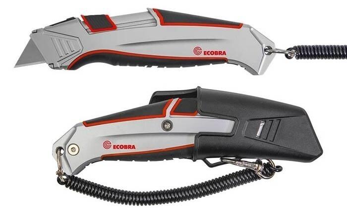 LOGO_Sicherheits-Cutter inkl. Kunststoff-Halter mit Einrast-Sicherung, Aluminiumgehäuse, Trapezklinge und automatischem Klingenrückzug