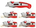 LOGO_Professional Safety Cutter with 3 positions of blade feed and blade auto-retractable