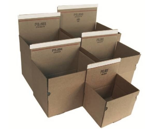 LOGO_PS.5... - Automatic bottom boxes, corrugated board, brown (individually printable)