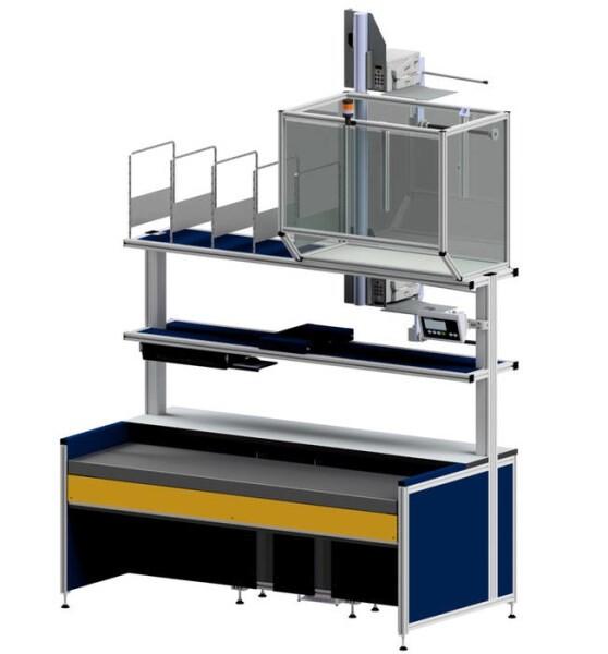 LOGO_Packarbeitsplatz – mit XXL Hubeinheit und intgerierter Waage für lange und schwere Pakete und Produkte.