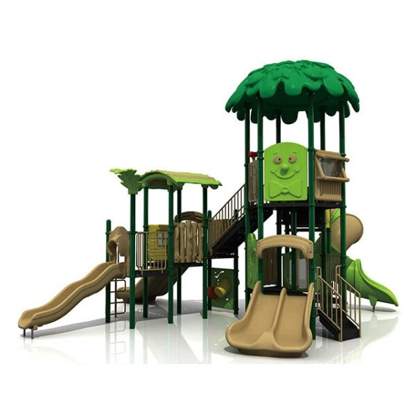 LOGO_Outdoor Tree House Playset for Youth with Slide