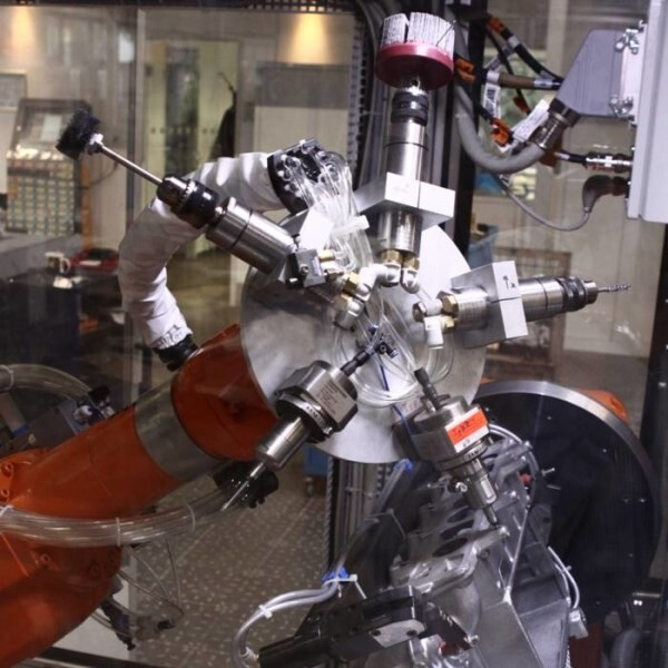 LOGO_Robotic cell for deburring and milling of aluminium gravity die casting with multi-tool-head