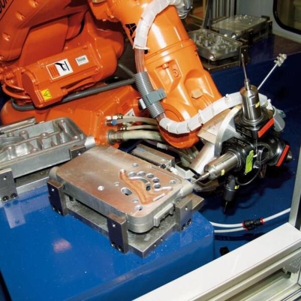 LOGO_Robotic cell for deburring of aluminium die casting