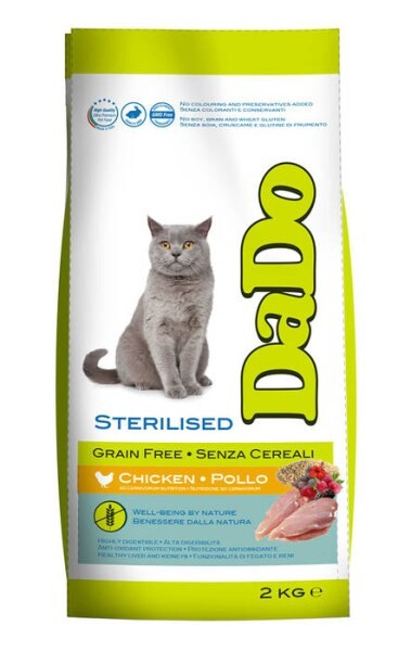 LOGO_DADO CAT GRAIN FREE STERILISED with dehydrated chicken, quinoa, and local olive biophenols
