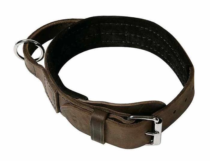 LOGO_Hetzhalsbänder mit Griff Softleder gepolstert 40-50cm