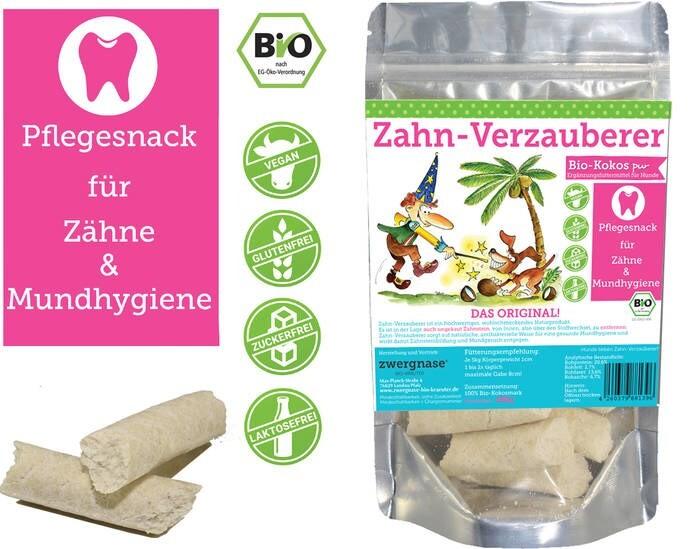"""LOGO_""""Zahn-Verzauberer"""" Pflegesnack für Zähne/Mundhygiene Kokos PUR"""