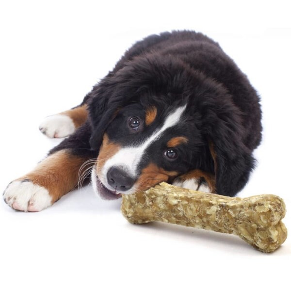 LOGO_100 per cent natural chew bones for Puppy & senior dog, Beef hide with duck & apple