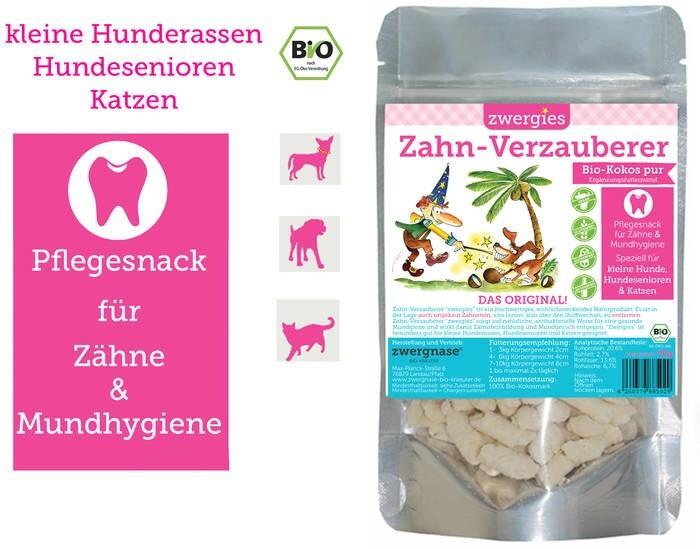 """LOGO_Zahn-Verzauberer """"zwergies"""" Pflegesnack für Zähne und Mundhygiene 100% Bio-Kokos für Kleine Hunderassen, Katzen, Seniorenhunde"""