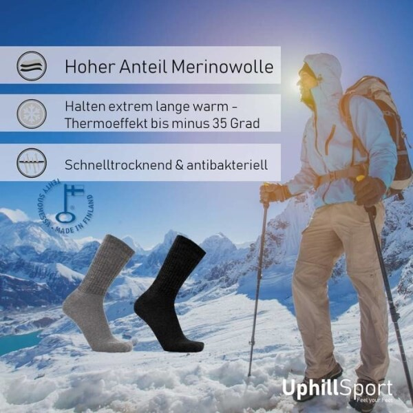 LOGO_UPHILLSPORT Merino Wool Hiking Socks for Men and Women