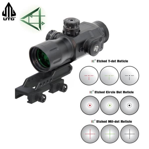 LOGO_UTG  T4 CQB 4x32 Zielfernrohr mit IE Beleuchtung und geätztem Glasabsehen: Kompaktoptik für Nahkampf und mittlere Entfernungen