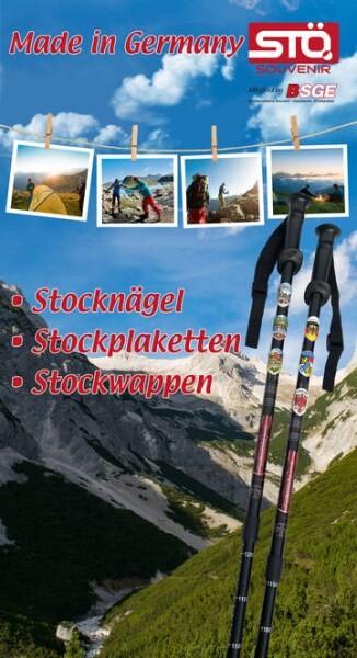 LOGO_Stocknägel, Stockplaketten, Stockwappen für Wanderstöcke