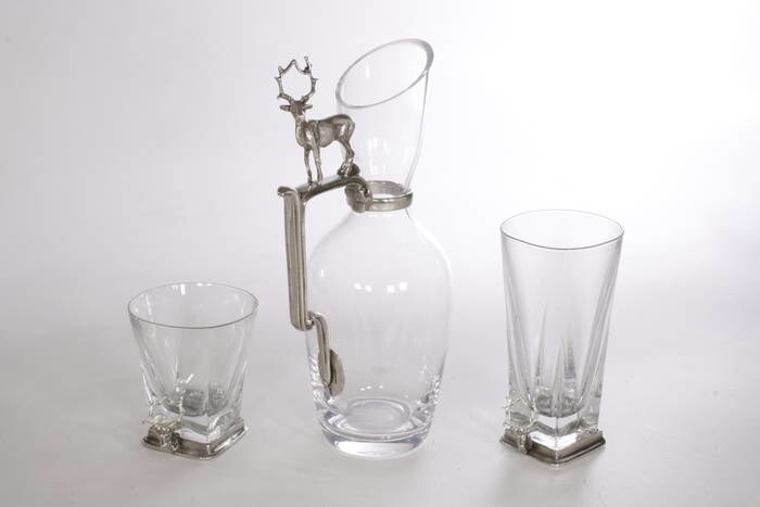 LOGO_Drink set in glass and pewter