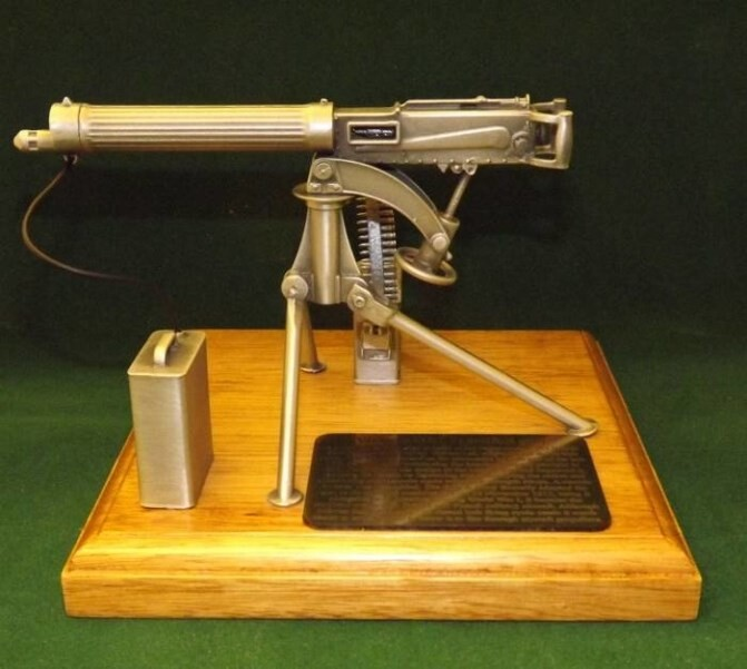 LOGO_1/6 scale miniature guns on solid light oak plinths (50 different designs)
