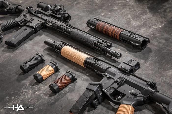 LOGO_Hera Leather Series: IRSL AR15 MLok Handguards , Front Grip HFGL und Pistolgrip H15GL