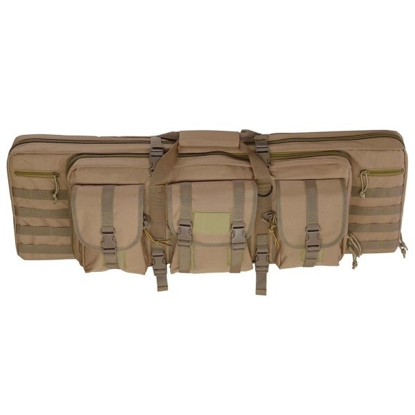 LOGO_Tactical Dual Rifle Gun Bag Case Carbine Soft Case Padded Oxford with Backpack Straps Accessories Pouches