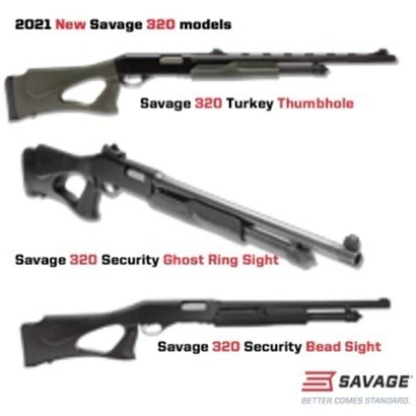 LOGO_NEW SAVAGE 320 THUMBHOLE PUMP ACTION SHOTGUN MODELS SECURITY AND TURKEY