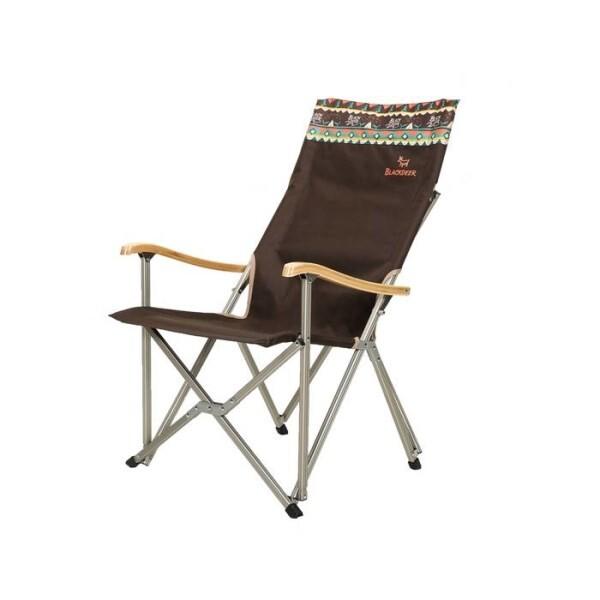 LOGO_Aluminum High Back Bamboo Camping Folding Chair