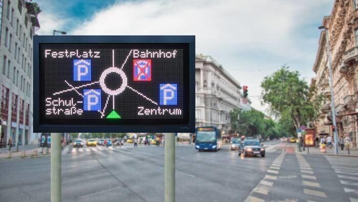 LOGO_Anzeigen zur Verkehrsführung und für effizientes Parkplatzmanagement