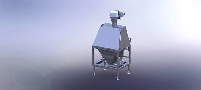 LOGO_Sackschütte mit pneumatisch betriebener Entstaubungseinheit