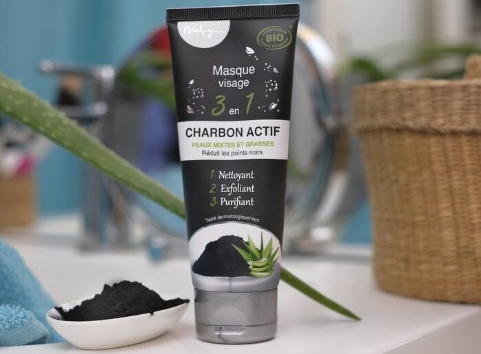 LOGO_3 in 1 Organic certified Face mask - Activated charcoal Bio4You