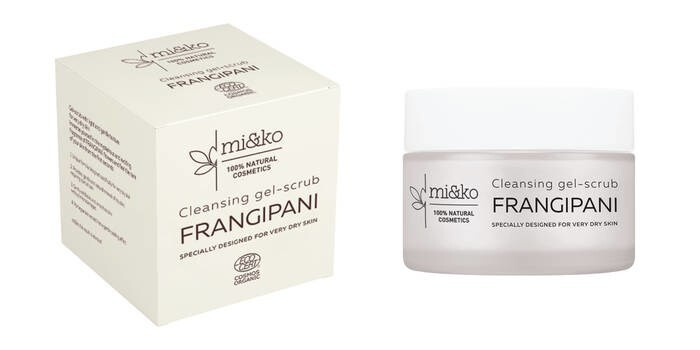 LOGO_Cleansing gel-scrub FRANGIPANI. SPECIALLY DESIGNED FOR VERY DRY SKIN