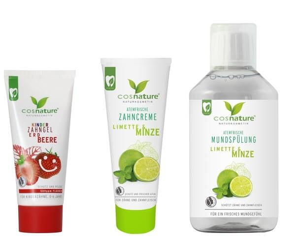 LOGO_Atemfrische Zahncreme Limette & Minze, Atemfrische Mundspülung Limette & Minze, Kinderzahngel Erdbeere