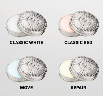 LOGO_Herbal Balm CLASSIC WHITE, CLASSIC RED, MOVE, REPAIR in adorable handcrafted zinc cream tins for the go.