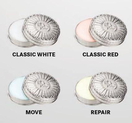 LOGO_Kräuterbalsam CLASSIC WHITE, CLASSIC RED, MOVE, REPAIR im handschmeichelnden kleinen Zinkdöschen