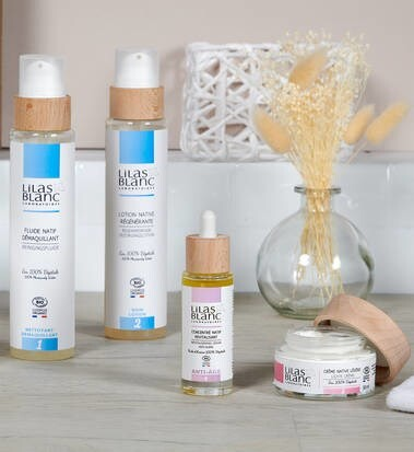 """LOGO_""""LILAS BLANC Certified organic French anti ageing skincare products"""""""
