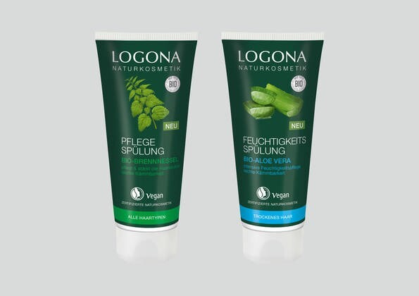 LOGO_LOGONA PFLEGE-SPÜLUNG mit Bio-Brennnessel LOGONA FEUCHTIGKEITS-SPÜLUNG mit Bio-Aloe Vera