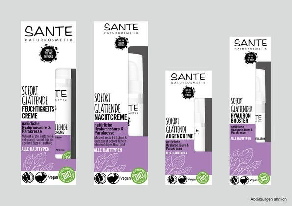 LOGO_SANTE Sofort glättende Serie bei ersten Fältchen mit natürlichem Hyaluron & Parakresse
