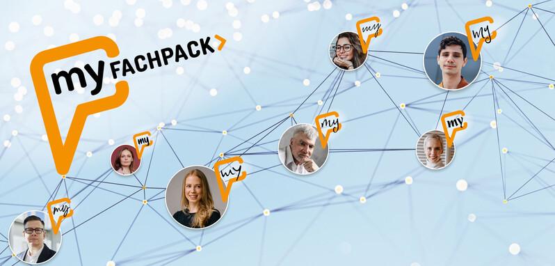 Mehrere Nutzerprofile sind netwerkartig miteinander verbunden. In der linken Ecke ist das myFACHPACK-Logo abgebildet.